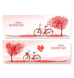 Valentines Day banners with a heart shaped tree vector