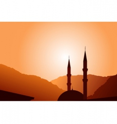 vector mosque silhouette at sunset vector image