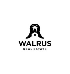 walrus mascot logo design vector image