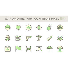 War and military icon set design 48x48 pixel vector