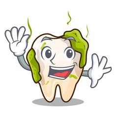 Waving cartoon unhealthy decayed teeth in mouth vector