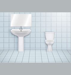 wc restroom with washbasins and toilet vector image
