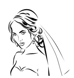 wedding time portrait of bride in dress vector image