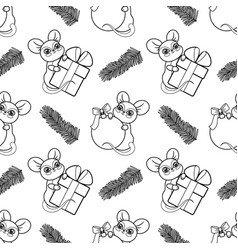 winter holiday seamless pattern with mouse symbol vector image