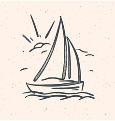 With hand drawn sail boat vector
