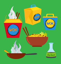 wok food set asian and chinese food flat style vector image
