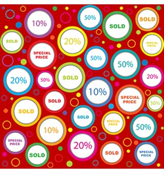Wrapping paper with sold and discounds adverts in vector image