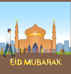 young dressed in european clothes muslim goes vector image