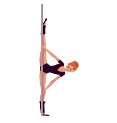 Young pole dance woman in black leotard doing hand vector image