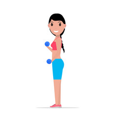Cartoon girl doing exercises with dumbbells vector
