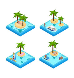 island vacation isometric set vector image vector image
