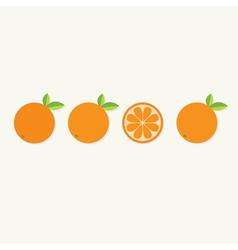 Orange fruit set with leaf in a row Cut half vector image vector image