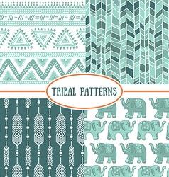 Set of tribal striped seamless pattern Geometric vector image