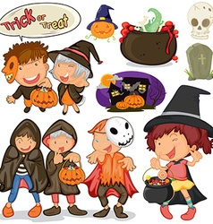 Children dressing up for halloween vector image vector image