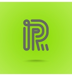 Graphic Line Font Logo Element Letter R vector image vector image