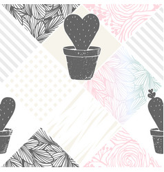 hand drawn floral patchwork seamless pattern with vector image