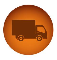 orange emblem delivery car icon vector image