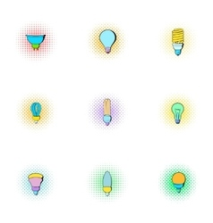 Types of lamps icons set pop-art style vector image