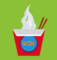 Wok box with chopsticks vector