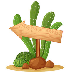 wooden sign in cactus garden vector image