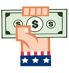 Caucasian American Hand Holding Up Cash vector image vector image
