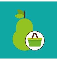 green basket fresh pear design icon vector image