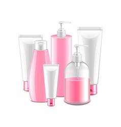 Pink cosmetic collection isolated on white vector image vector image