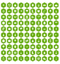 100 garden icons hexagon green vector