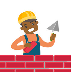 African-american bricklayer building a brick wall vector