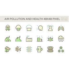 Air pollution and health icon set design 48x48 vector
