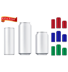 aluminium beer and slim soda can mock up vector image