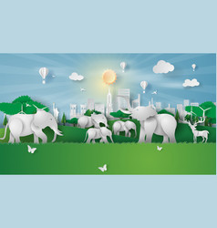 animal wildlife in green park landmarks at new vector image