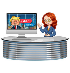 Announcer with fake news on tv or computer vector
