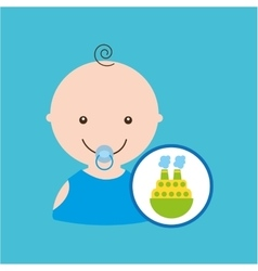 Big boat toy baby icon vector