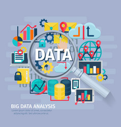 Big Data Analysis concept Flat Poster vector image