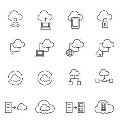 big data icons set cloud computing vector image