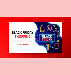 black friday shopping neon landing page vector image
