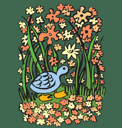 blue duck on river bank vector image
