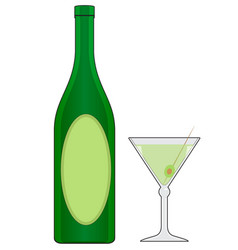 Bottle and glass with drink vector