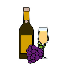 bottle champagne or wine and glass with bunch of vector image