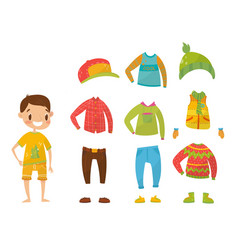 boys clothing collection set of clothes and vector image