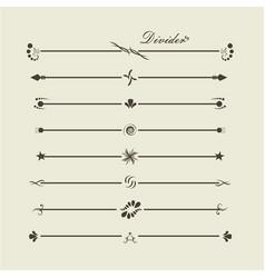 Brown gradient calligraphic swirl dividers vector