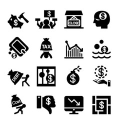 Business crisis and business failure icon set vector
