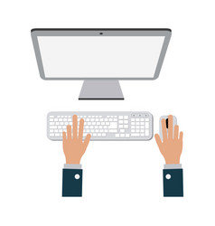 businessman hands working on computer vector image