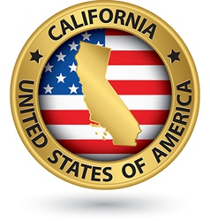 California state gold label with state map vector