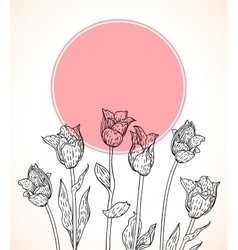 Card with hand drawn tulips on pink circle vector