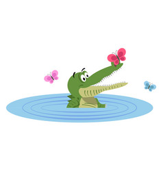 cartoon crocodile swimming in lake with butterfly vector image