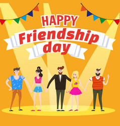 celebrating group of happy friends enjoying vector image