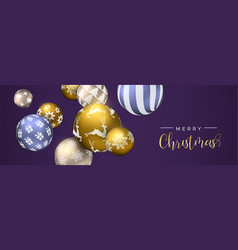 Christmas purple bauble ornament web banner vector