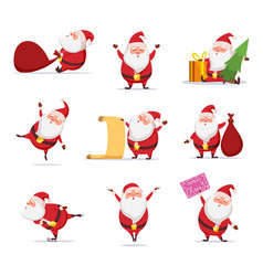 christmas symbols of funny cute santa different vector image